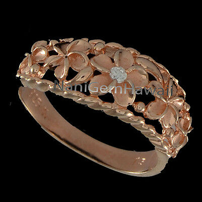 Hawaiian Ring 5 Plumeria Flower Band Sterling Silver 14K PG Plated Curve Style