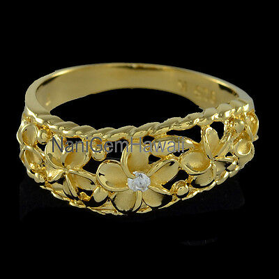 Hawaiian Ring 5 Plumeria Flower Band Sterling Silver 14K YG Plated Curve Style