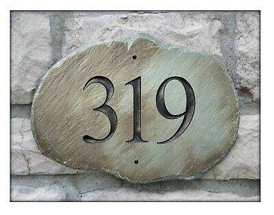 STONE Address Plaque/House Marker Sign Home/Number/ECO/Slate /Post/Placard #4S