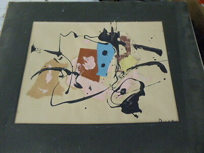 ORIGINAL MID CENTURY MIXED MEDIA COLLAGE SIGNED BY CONTEMPORARY ARTIST PULLEN