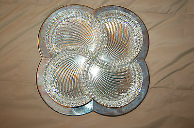 """13"""" Mikasa Vision 4 Section Glass & Silver Plate Serving Dish/ Tray/ 4-Pt.Server"""