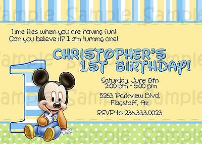 Baby Mickey Mouse 1st Birthday invitations: Customized, blue, personalized