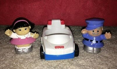 Fisher Price Little People Discovery City Village Sonya Lee & Policeman 2 Car