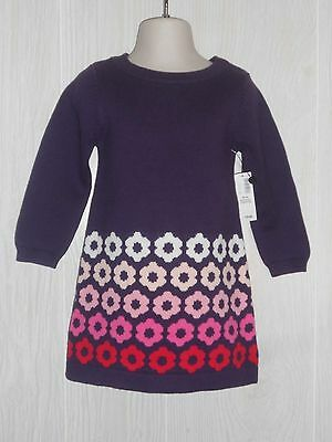 Old Navy Baby Girl's Purple Floral Print Sweater Dress Size 18-24 Months NWT