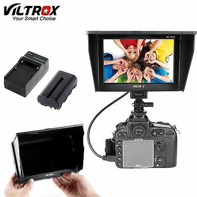 "Viltrox 7"" HD LCD Video Monitor HDMI AV for Canon Nikon Sony Battery+Charger"