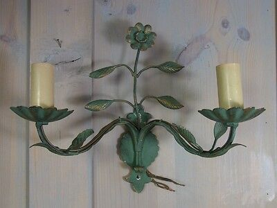 LA2/10* Green 2 Light Florentine Style Lamp Wall Sconce * Vintage Italy 1960's