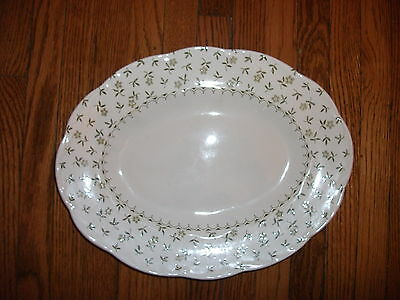 Vintage J&G MEAKIN Sterling Forget Me Not Green Flower Oval Serving Platter