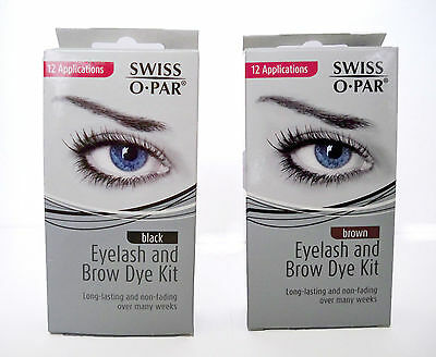 Swiss O.Par Women Brown Black Eyelash and Brow Dye Colour Tint Kit Make up