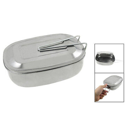 FP Wholesale Silver Tone Picnic Case Mess Tin Lunch Box w Handle