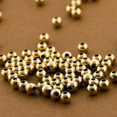 30pc Gold Filled 4mm Round Smooth Polished Beads.Seamless.Made in USA 14/20 14kt