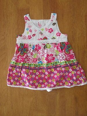 The Childrens Place TCP Baby Girls 6-9 M White And Pink Flower One Piece