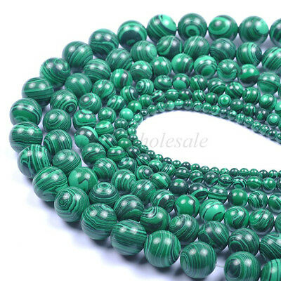 4/6/8/10/12/14/16/18/20MM Malachite Gemstone Round Charms Loose Spacer Beads