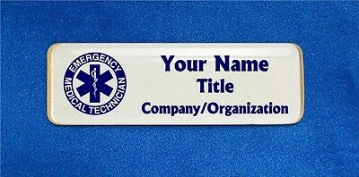 Emergency Medical Technician EMT Custom Personalized Name Tag Badge ID Blue