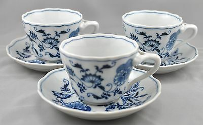 3 Blue Danube Japan Cups Saucers Blue Onion Pattern Ribbon Rectangle Mixed Mark
