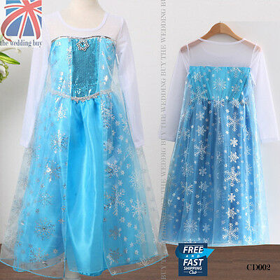 UK Frozen Princess Queen Elsa Cosplay Costume Party Fancy Dress 3-8 Years CD002