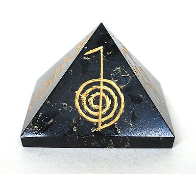 Reiki Energy Charged Large Black Tourmaline Engraved Pyramid Crystal Protective
