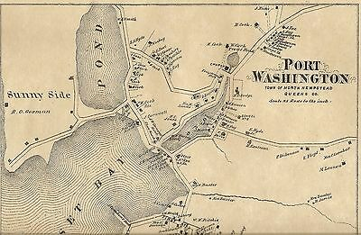 Port Washington  NY 1873 Map with Homeowners Names Shown