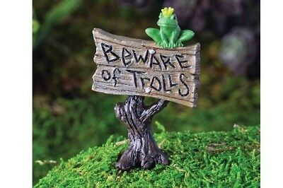 "My Fairy Gardens Mini - Frog Sign ""Beware of Trolls"" - Supplies Accessories"