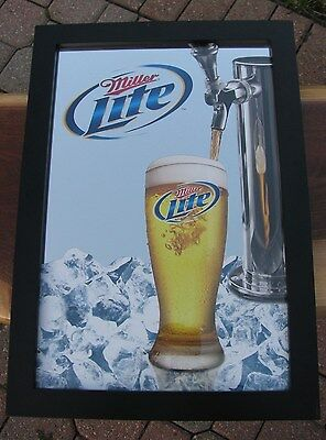 2008 MILLER LITE GLASS WITH TAP HEAVY DUTY FRAMED MIRROR MILLER BREWING COMPANY