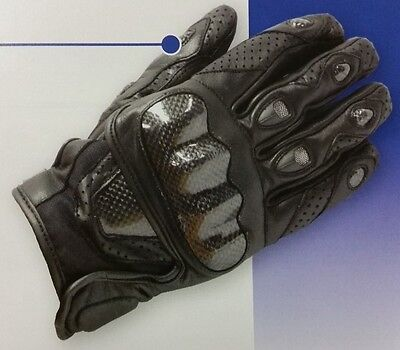 Motoline Type-S Motorcycle Leather / Carbon Fibre Riding Pro Road Glove Medium
