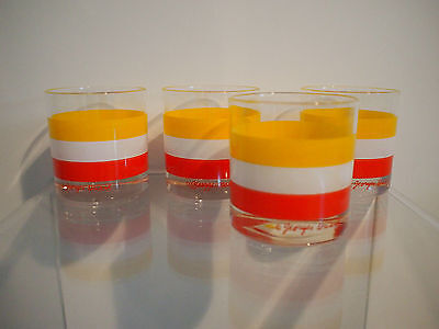 SIGNED Mid Century Modern GEORGES BRIARD 4pc Rocks GLASSES Orange Yellow Stripes