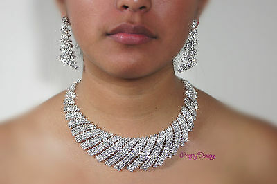 New Clear Crystal Rhinestone Necklace Earrings Set Party Bridal Prom Wedding