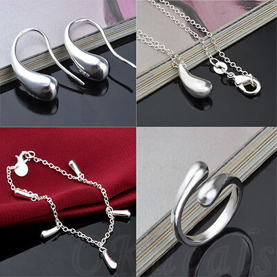 Fashion Silver Plated Jewelry Drop Set Bracelet Necklace Earrings Ring Hot Style