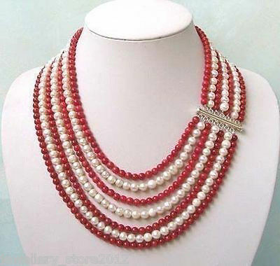 Beautiful!7 rows 5-6mm white pearl red jade Jewelry necklace