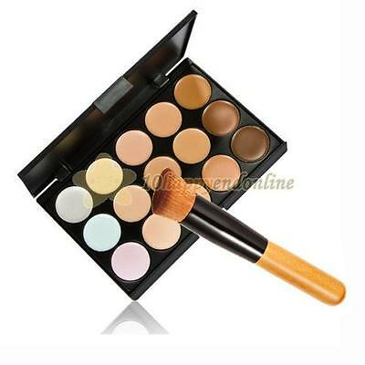 15 Colors Face Cream Makeup Palette Concealer Contour+Brush Cosmetic Tool Set
