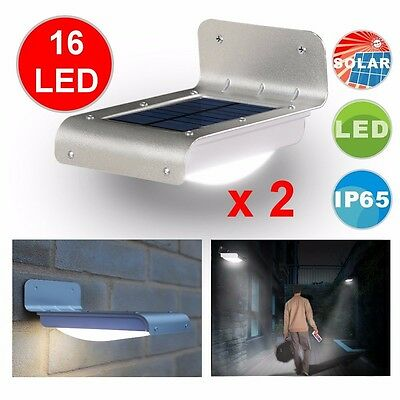 2xBright PIR LED Solar Outdoor Waterproof Motion Sensor Gutter Wall Garden Light