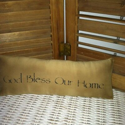 Primitive Stenciled Pillow - God Bless Our Home - Thymeless Treasures