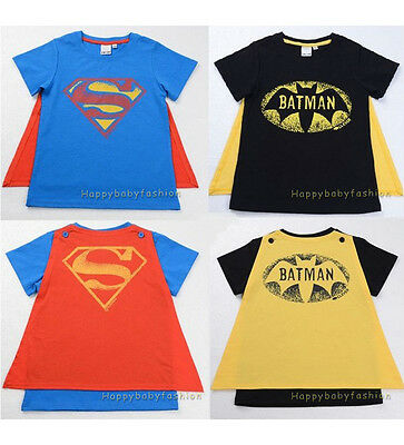 Baby Boy Girl Superman Batman Supergirl Costume T shirt with cape size 2-7 years