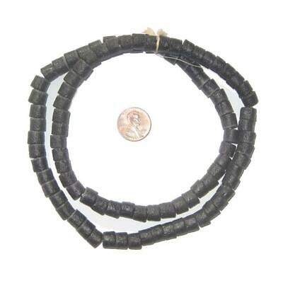 Charcoal Black Sandcast Cylinder Beads 8mm Ghana African Glass Large Hole