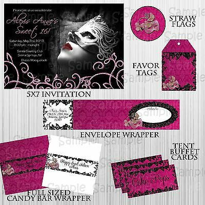 Masquerade  Birthday Party Package:Custom, Sweet Sixteen party with invitation