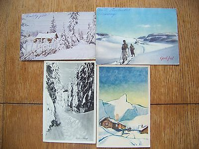 4 Vintage Early 1900 Postcard Norway Winter Scene 2 Norge Stamps