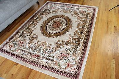 NEW Ivory Beige Burgundy Green Floral Oriental 8x10 Traditional Area Rug 8x11