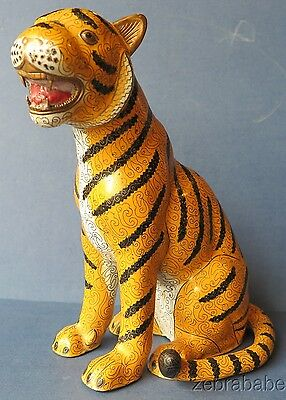 Antique Chinese Cloisonne Enamel Tiger Statue Figurine Copper Quinlong 1736-1795