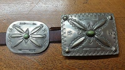 Vintage 1910's-1920's Nickel Silver Turquoise and Arrowhead Concho Belt