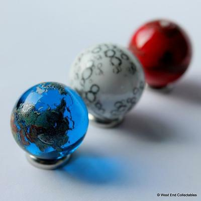 Planet Earth, The Moon & Mars Glass Marble Collection - Astronomy Space Orrery