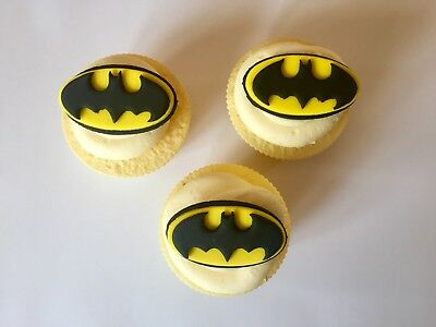 6 Edible Sugarpaste Batman Birthday Cake Cupcake Toppers Decorations 2