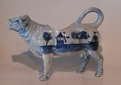 OLD COW CREAMER DELFT WINDMILL AND SHIP FLOW BLUE