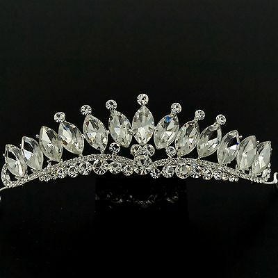 Gorgeous Clear Austrian Crystal Rhinestone Tiara Crown Bridal Party Pageant 5469