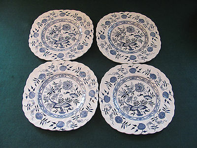 SET OF 4 VINTAGE OLD STAFFORDSHIRE BLUEFJORD IRONSTONE DESSERT / BREAD PLATES