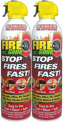 Fire Gone 2NBFG2704 White/Red Fire Extinguisher - 16 oz., (Pack of 2), New