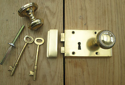 Solid Brass Old Style Door Georgian door RIM LOCK LATCH KNOB SET