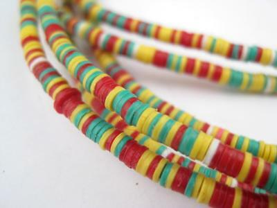 Ghana Medley Vinyl Phono Record Beads 3mm African Multicolor Disk 35 Inch Strand