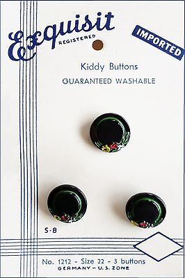 #7Y Card Exquisit Kiddy Button Realistic Blk Ladies Hats Grn Ribbon Flower Glass