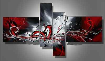 oil paintings red black white home decor Modern abstract wall art unique gift