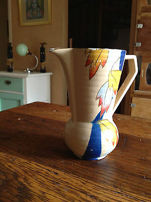 Made in England depression era semi glazed pottery jug with colourful leaves art