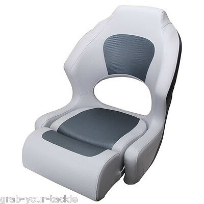 Boat Seat Helm Chair Filp Up Bucket Seat Light Grey Dark Grey WIth Bolster NEW
